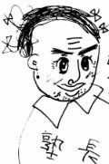 塾長の顔イラスト Kさん画  中3ごくろうさん会で描いてくれました